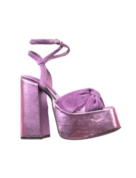 Seventies Woman's Sandals Purple Kid Suede PU