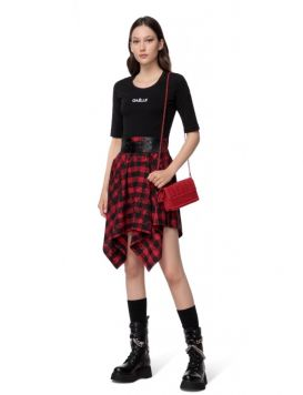 GBD9932 Woman's Dress with Skirt Black/Red