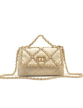 112P-BA-910-LEA Chain Stephy Med. Hand Bag Leather Ivory