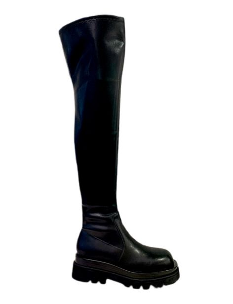 TANKED-OK Woman's Boots Stretch PU Leather Blk